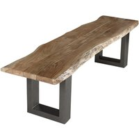 Product photograph showing Catila Live Edge Large Wooden Dining Bench In Oak