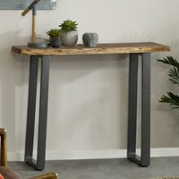 Product photograph showing Catila Live Edge Wooden Console Table In Oak