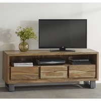 Product photograph showing Catila Live Edge Wooden Tv Stand In Oak With 3 Drawes