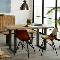 Product photograph showing Catila Medium Dining Table In Oak 2 Cowhide Chair And Bench
