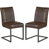 Product photograph showing Catila Dark Brown Faux Leather Dining Chairs In Pair