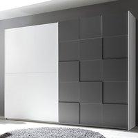 Product photograph showing Cattio 3d Design Wooden Wardrobe In Matt Grey