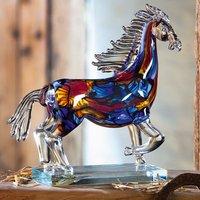 Product photograph showing Cavallo Glass Horse Design Sculpture In Multicolor