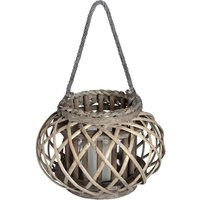 Product photograph showing Cave Large Wicker Basket Lantern In Brown With Glass Hurricane