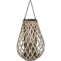 Product photograph showing Cave Large Wicker Bulbous Lantern In Brown With Glass Hurricane