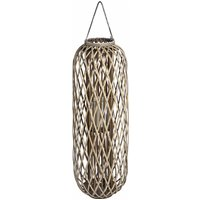 Product photograph showing Cave Large Wicker Standing Lantern In Brown With Glass Hurricane
