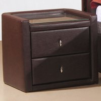 Caxton PU Leather Bedside Cabinet In Brown With 2 Drawers