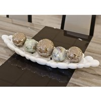 Product photograph showing Cebalrai Ceramic Bubble Tray In White