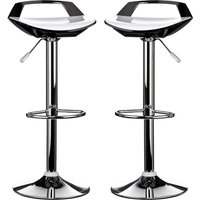 Ceko White And Black ABS Plastic Bar Stools In Pair