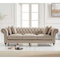 Camari Chesterfield Linen 3 Seater Sofa In Cream