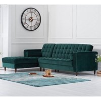 Centarik Left Handed Velvet Sofa Bed In Green