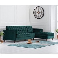 Centarik Right Handed Velvet Sofa Bed In Green