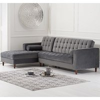 Centarik Velvet Left Facing Chaise Sofa Bed In Grey