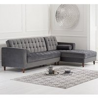 Centarik Velvet Right Facing Chaise Sofa Bed In Grey
