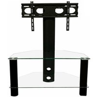 Product photograph showing Century Glass Tv Stand In Black With Bracket