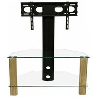 Product photograph showing Century Glass Tv Stand In Light Oak With Bracket