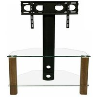 Product photograph showing Century Glass Tv Stand In Walnut With Bracket