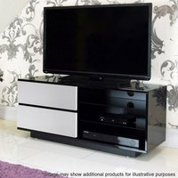 Product photograph showing Century Tv Stand In Black High Gloss With White Gloss Drawers