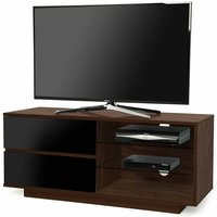 Product photograph showing Century Tv Stand In Walnut Finish With Black Gloss Drawers