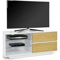 Product photograph showing Century Tv Stand In White High Gloss With Oak Gloss Drawers