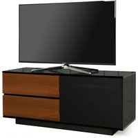 Product photograph showing Century Ultra Tv Stand In Black Gloss With Walnut Gloss Drawers