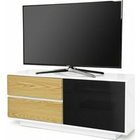 Product photograph showing Century Ultra Tv Stand In White Gloss With Oak Gloss Drawers