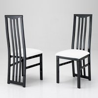 Product photograph showing Cexa Wooden Dining Chair In Black With White Seat