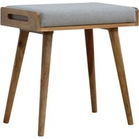 Product photograph showing Chaffee Wooden Footstool In Oak Ish And Grey Tweed Seat