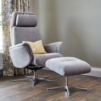 Product photograph showing Chalfont Fabric Swivel Recliner Chair With Footstool In Stone