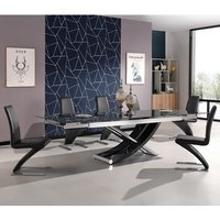 Chanelle Glass Extendable Dining Table With 6 Demi Black
