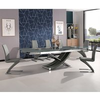 Chanelle Grey Glass Dining Table And 6 Demi Grey Dining Chairs