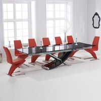 Chanelle Glass Extendable Dining Table With 6 Demi Red