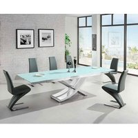 Chanelle Glass Extendable Dining Table And 6 Demi Grey
