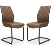 Charlie Antique Brown Faux Leather Dining Chairs In A Pair