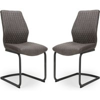 Charlie Grey Faux Leather Dining Chairs In A Pair