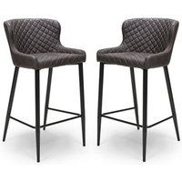 Charlie Grey Leather Bar Stool With Metal Base In Pair