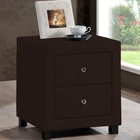 Product photograph showing Chelsea Faux Leather Bedside Cabinet In Brown With 2 Drawers