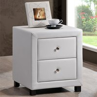 Product photograph showing Chelsea Faux Leather Bedside Cabinet In White With 2 Drawers