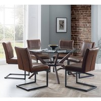 Chelsea Large Glass Dining Set With 6 Brooklyn Brown Chairs