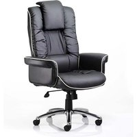 Chelsea Leather Executive Office Chair In Black With Arms