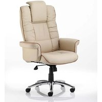 Chelsea Leather Executive Office Chair In Cream With Arms