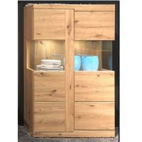 image-Chelsea LED Display Cabinet With Glass Shelves In Artisan Oak