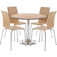 Chelsey Wooden Dining Table Round In Oak With 4 Chairs