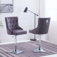 Product photograph showing Chelsi Dark Grey Velvet Upholstered Gas-lift Bar Chairs In Pair