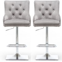 Product photograph showing Chelsi Light Grey Velvet Upholstered Gas-lift Bar Chairs In Pair