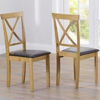 Product photograph showing Chertan Dark Brown Leather Seat Dining Chairs In Pair