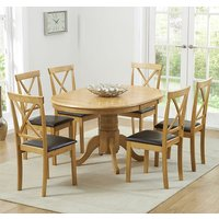 Product photograph showing Chertan Extending Oak And Cream Dining Table With 6 Chairs