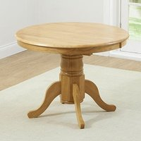 Product photograph showing Chertan Extending Round Wooden Dining Table In Oak