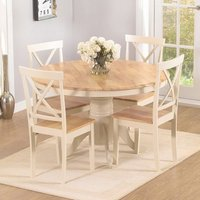 Chertan Oak And Cream Round Dining Set With 4 Dining Chairs