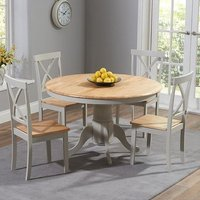 Chertan Oak And Grey Round Dining Set With 4 Dining Chairs